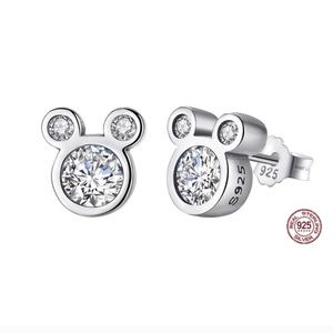 STERLING SILVER MICKEY MOUSE CUBIC ZIRCONIA STUDS